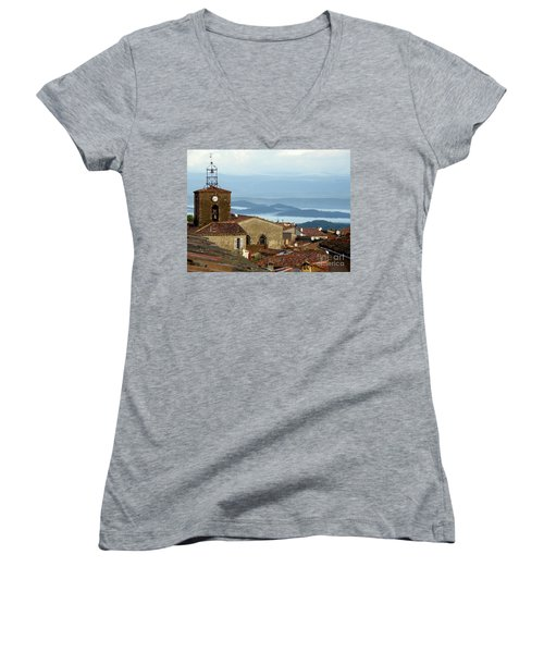 Morning Mist In Provence Women's V-Neck T-Shirt (Junior Cut) by Lainie Wrightson
