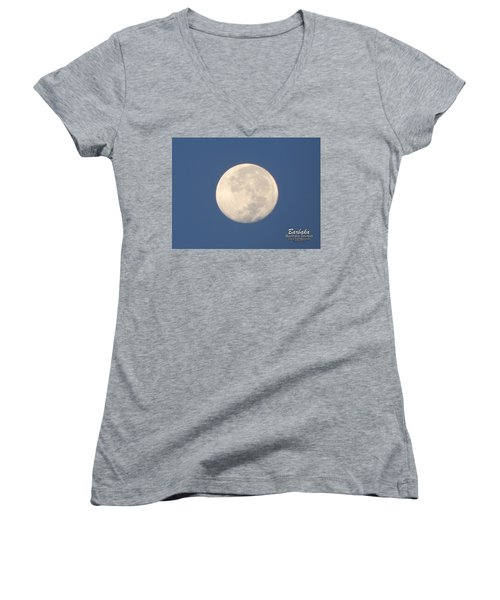 Women's V-Neck T-Shirt (Junior Cut) featuring the photograph Morning Moon by Barbara Tristan