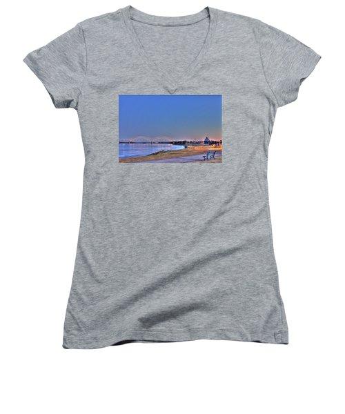 Morning On The Mississippi Women's V-Neck T-Shirt