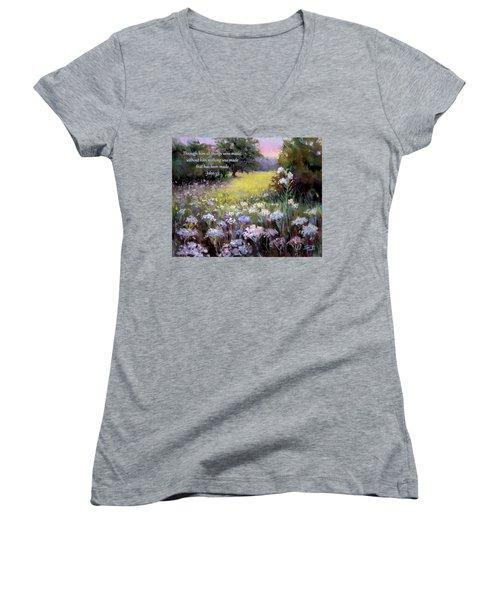 Morning Praises With Bible Verse Women's V-Neck T-Shirt