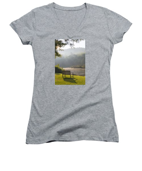 Morning Rays On The Pond And Bench Women's V-Neck (Athletic Fit)
