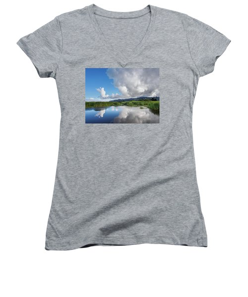 Women's V-Neck T-Shirt (Junior Cut) featuring the photograph Morning Reflections On A Marsh Pond by Greg Nyquist