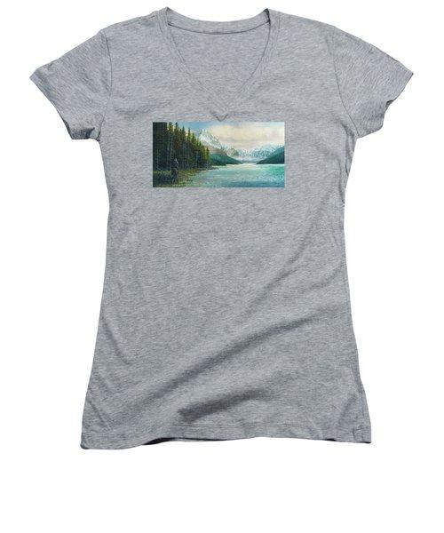 Morning Ride Women's V-Neck T-Shirt (Junior Cut) by Douglas Castleman