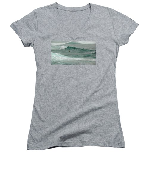 Morning Ride Women's V-Neck T-Shirt (Junior Cut) by Evelyn Tambour