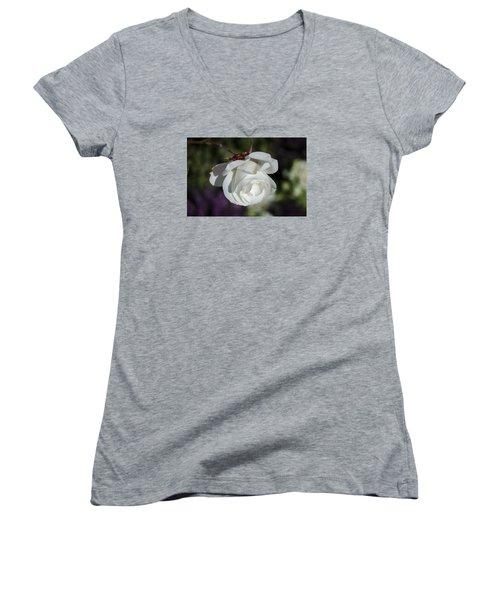 Morning Rose Women's V-Neck T-Shirt (Junior Cut) by Dan Hefle