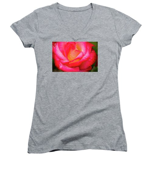 Women's V-Neck T-Shirt (Junior Cut) featuring the photograph Morning Rose For You by Ken Stanback