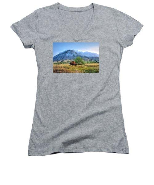 Morning Shift Women's V-Neck T-Shirt (Junior Cut) by Fiskr Larsen