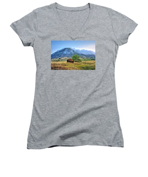 Women's V-Neck featuring the photograph Morning Shift by Fiskr Larsen