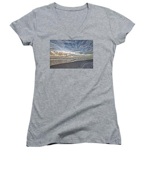 Morning Sky At The Beach Women's V-Neck T-Shirt