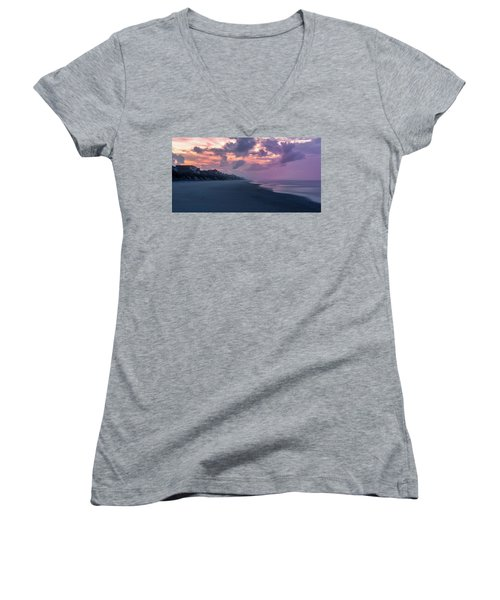 Morning Stroll On The Beach Women's V-Neck (Athletic Fit)