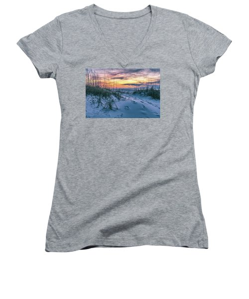 Women's V-Neck T-Shirt (Junior Cut) featuring the photograph Morning Sunrise At The Beach by John McGraw