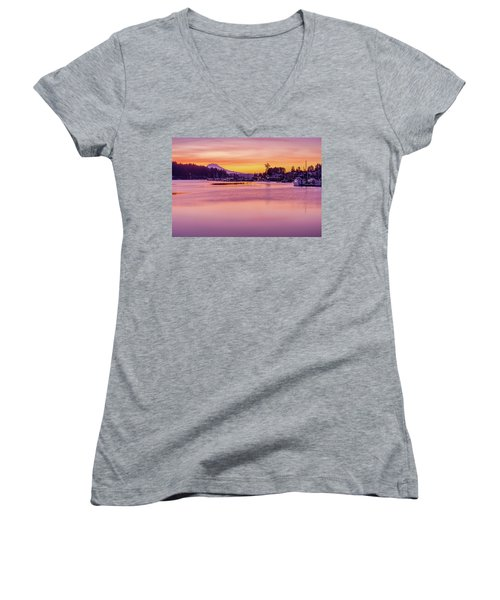 Women's V-Neck T-Shirt (Junior Cut) featuring the photograph Morning Sunrise In Gig Harbor by Ken Stanback