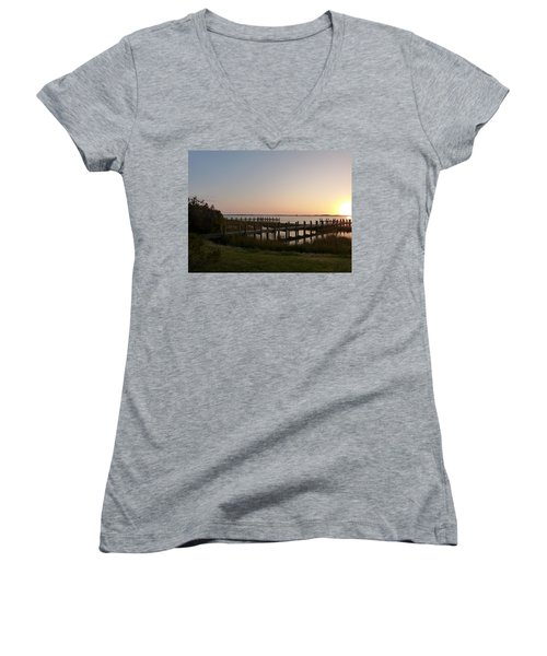 Women's V-Neck T-Shirt (Junior Cut) featuring the photograph Morning Sunrise Over Assateaque Island by Donald C Morgan