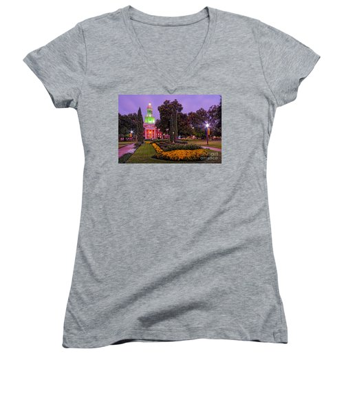 Morning Twilight Shot Of Pat Neff Hall From Founders Mall At Baylor University - Waco Central Texas Women's V-Neck