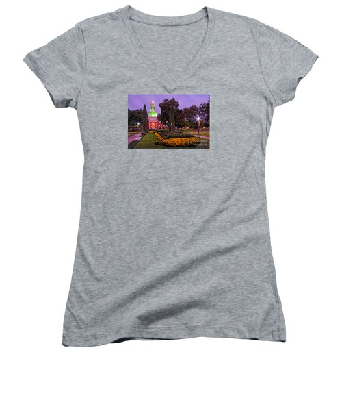 Morning Twilight Shot Of Pat Neff Hall From Founders Mall At Baylor University - Waco Central Texas Women's V-Neck T-Shirt