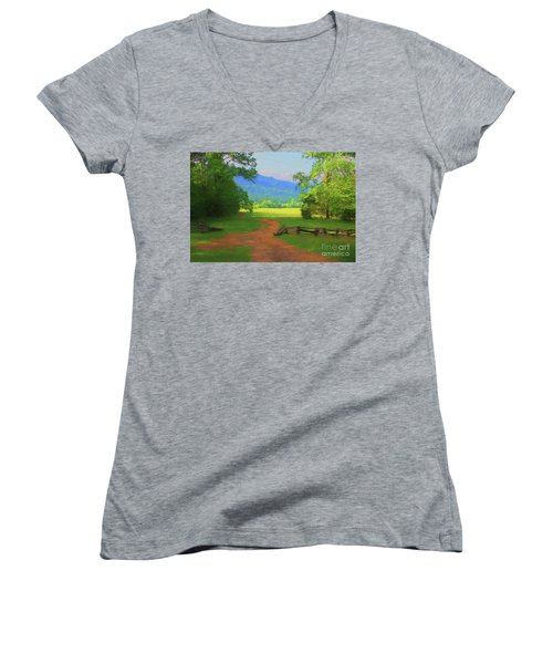 Morning View Women's V-Neck T-Shirt (Junior Cut) by Geraldine DeBoer