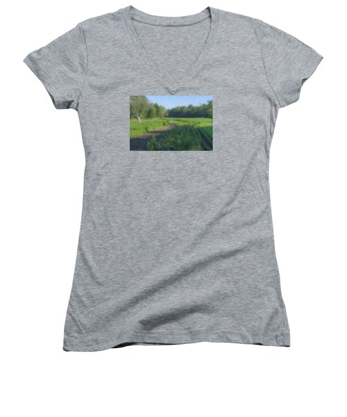 Morning Walk At Langwater Farm Women's V-Neck (Athletic Fit)