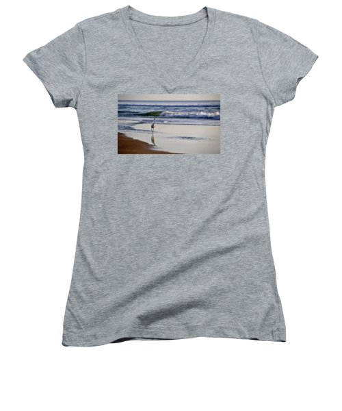 Women's V-Neck T-Shirt (Junior Cut) featuring the photograph Morning Walk At Ormond Beach by Steven Sparks