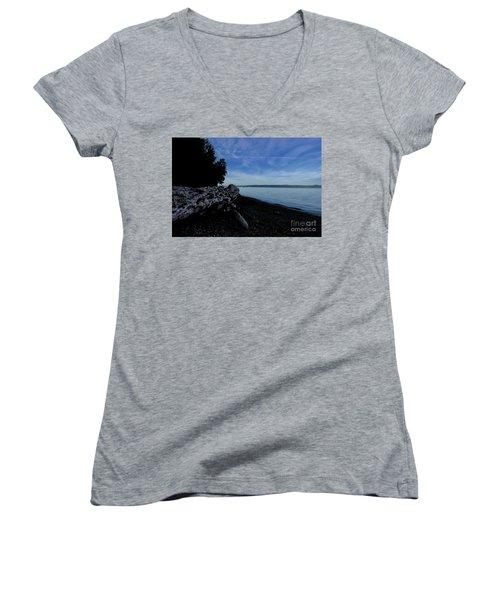 Morning Walk Seahurst Park. Women's V-Neck T-Shirt