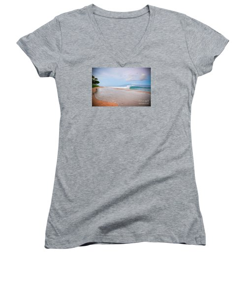 Morning Wave Women's V-Neck T-Shirt (Junior Cut) by Kelly Wade