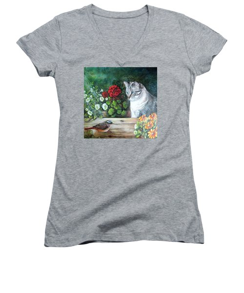 Women's V-Neck T-Shirt (Junior Cut) featuring the painting Morningsurprise by Patricia Schneider Mitchell
