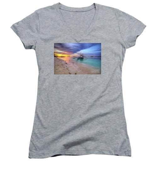 Women's V-Neck T-Shirt (Junior Cut) featuring the photograph Morningtide 2.0 by Yhun Suarez