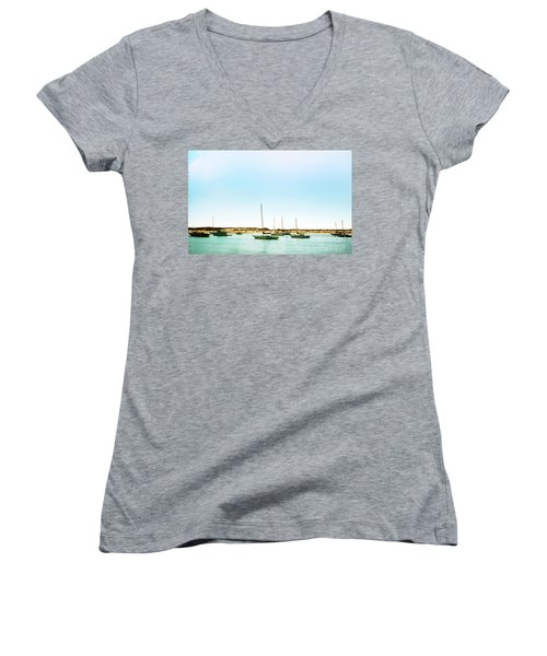 Moro Bay Inlet With Sailboats Mooring In Summer Women's V-Neck T-Shirt