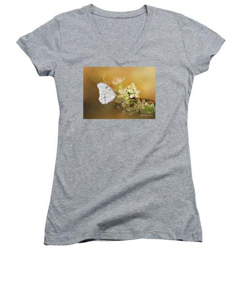 Morpho Luna  Women's V-Neck T-Shirt (Junior Cut) by Eva Lechner
