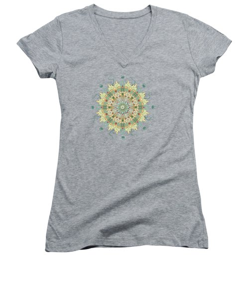Morris Artful Garden Mandala Women's V-Neck T-Shirt (Junior Cut) by Deborah Smith