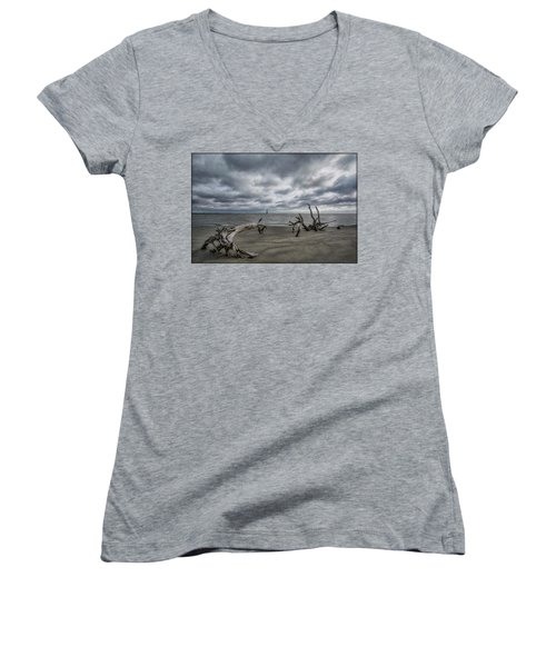 Morris Island Lighthouse Women's V-Neck T-Shirt (Junior Cut)
