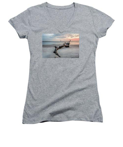 Morris Island Women's V-Neck T-Shirt (Junior Cut) by Robert Loe