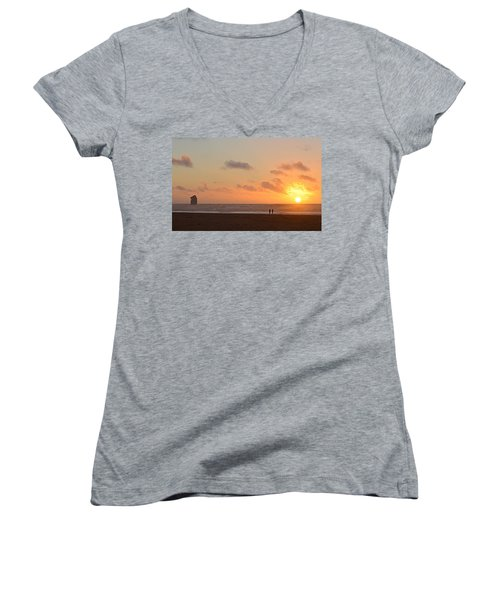 Morro Sunset Women's V-Neck T-Shirt (Junior Cut) by AJ Schibig