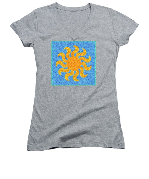 Mosaic Stained-glass Of The Sun Women's V-Neck T-Shirt (Junior Cut) by Anton Kalinichev