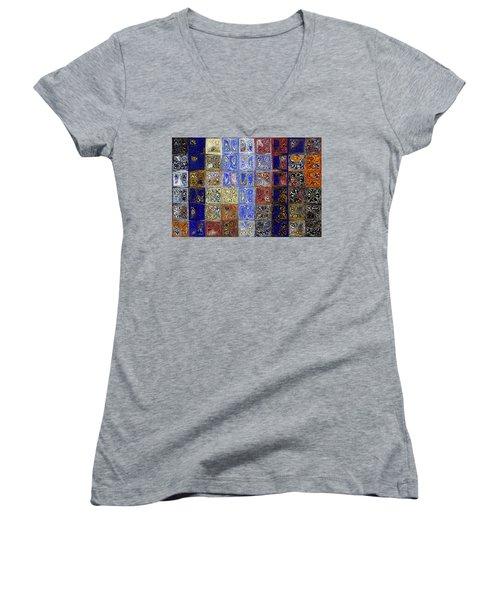 Mosaic Tile Evening Landscape. Modern Mosaic Tile Art Painting Women's V-Neck T-Shirt (Junior Cut) by Mark Lawrence