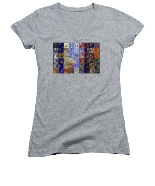 Mosaic Tile Evening Landscape. Modern Mosaic Tile Art Painting Women's V-Neck T-Shirt