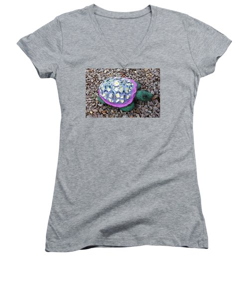 Women's V-Neck T-Shirt (Junior Cut) featuring the ceramic art Mosaic Turtle by Jamie Frier