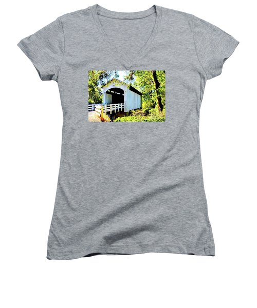 Mosbey Creek Stewart Covered Bridge Women's V-Neck T-Shirt (Junior Cut) by Ansel Price