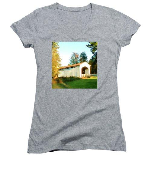 Mosby Creek Covered Bridge Women's V-Neck T-Shirt (Junior Cut) by Wendy McKennon
