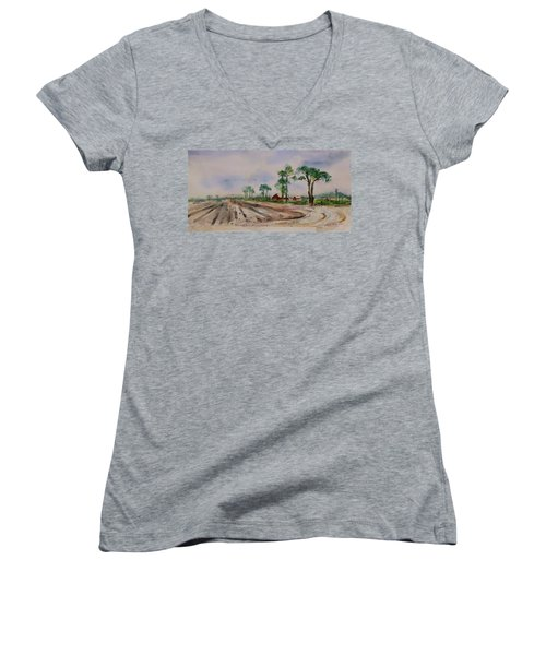 Women's V-Neck T-Shirt featuring the painting Moss Landing Pine Trees Farm California Landscape 1 by Xueling Zou
