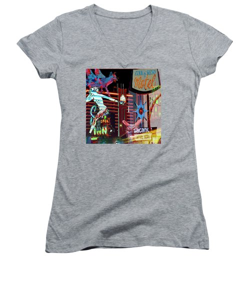 Motel Variations Night Of The Flyng Coyote Women's V-Neck T-Shirt (Junior Cut) by Ann Tracy