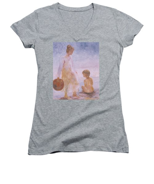 Mother And Baby On The Beach Women's V-Neck T-Shirt