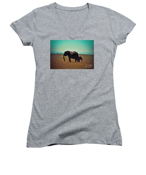 Women's V-Neck T-Shirt (Junior Cut) featuring the photograph Mother And Child by Karen Lewis