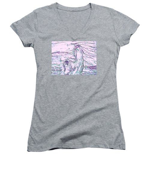 Mother And Daughter Against The Wind Women's V-Neck T-Shirt (Junior Cut) by Karl Reid