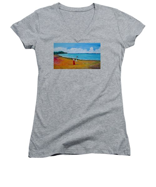 Women's V-Neck T-Shirt (Junior Cut) featuring the painting Mother And Daughter by Marilyn  McNish