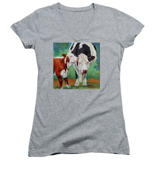 Women's V-Neck T-Shirt (Junior Cut) featuring the painting Mother And Son by Margaret Stockdale