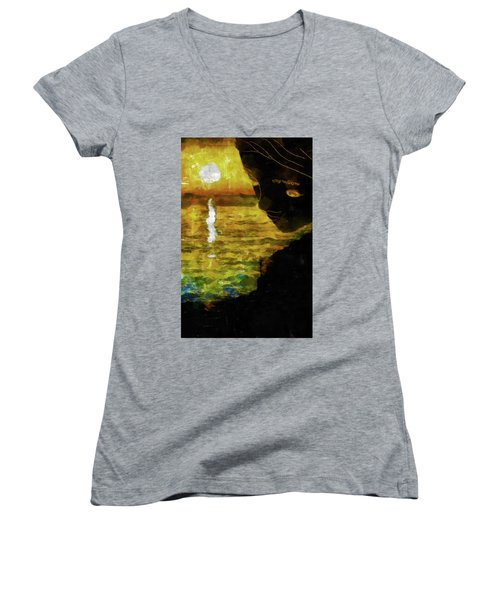 Women's V-Neck T-Shirt (Junior Cut) featuring the photograph Mother Earth Watching by Joseph Hollingsworth