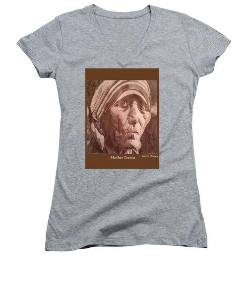 Mother Teresa  Women's V-Neck T-Shirt (Junior Cut) by Gavin Dorsey