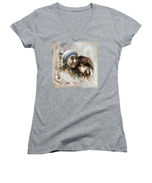 Women's V-Neck T-Shirt (Junior Cut) featuring the painting Mother Teresa  by Gull G