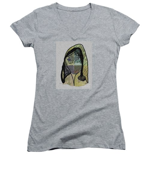Women's V-Neck T-Shirt (Junior Cut) featuring the mixed media Mother Teresa  Never Forget by Ann Calvo