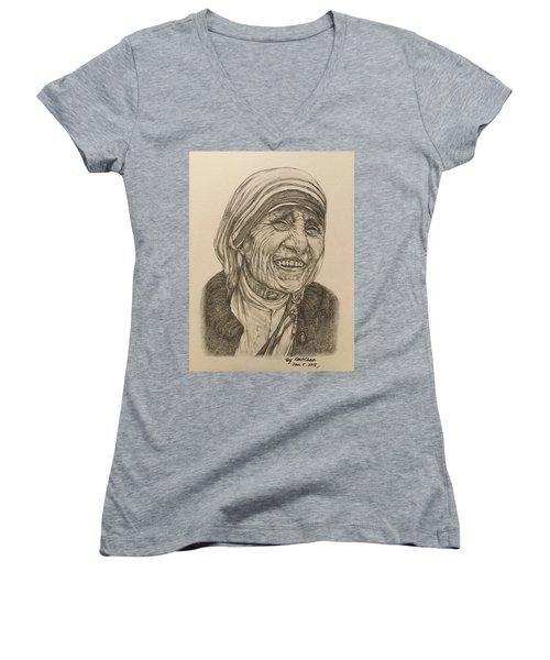 Mother Theresa Kindness Women's V-Neck T-Shirt (Junior Cut) by Kent Chua